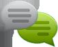 שתי בועות צ'אט עם פסים אופקיים המדמים שיחה, בועה אחורית בצבע ירוק, בועה קידמית בצבע אפור